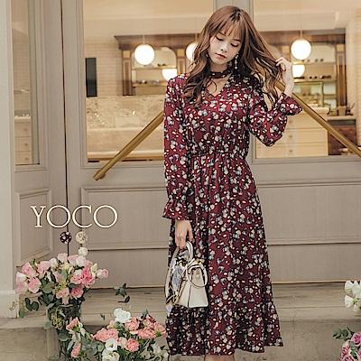 東京著衣-yoco 韓妞LOOK多色繞頸花朵長洋裝-S.M.L(共二色)