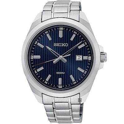SEIKO 精工 城市時尚石英手錶-藍x銀/42mm