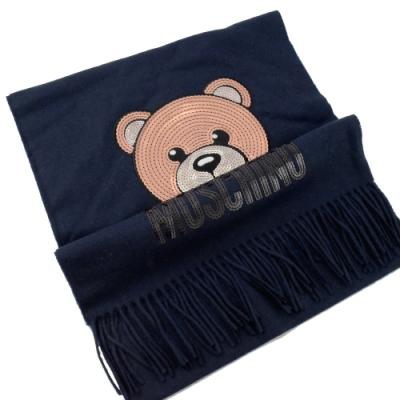 MOSCHINO 亮片小熊圖樣羊毛圍巾(深藍)
