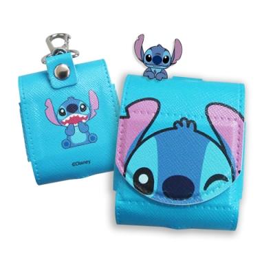迪士尼授權 Airpods 皮革質感 藍牙耳機盒保護套 1/2代通用款(史迪奇)