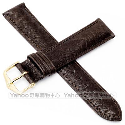 海奕施 HIRSCH Camelgrain L牛皮手錶帶-深棕