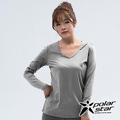 PolarStar 女 遠紅外線V領保暖衣『灰色』 P18248