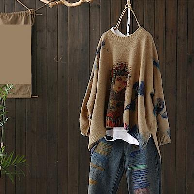 彩染蝙蝠針織衫寬鬆印花毛衣/設計所在Y5004