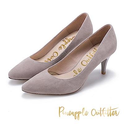 Pineapple Outfitter 簡約風尚 素面尖頭中跟鞋-絨灰