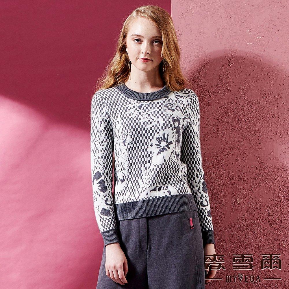 【麥雪爾】兔羊毛動物圖騰棋盤格毛衣