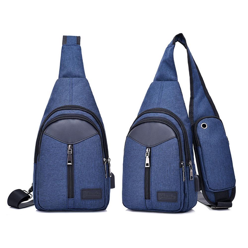 I.Dear-戶外時尚男女休閒旅行USB充電胸前斜背包(BG77藍色)