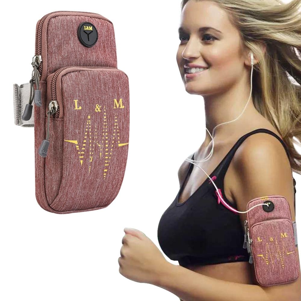 活力揚邑 防水透氣排汗耳機孔跑步自行車運動手機音樂臂包臂袋臂帶臂套7.2吋以下通用-紅