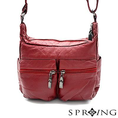 SPRING-微風城市輕量氣質斜背包-寶石紅