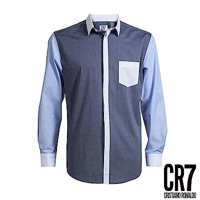 CR7-Slim Fit 立領藍色拼接襯衫-藍(8600-7200-307)
