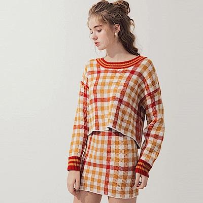AIR SPACE 配色格紋針織裙套裝(橘)