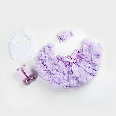 日安朵朵 女嬰童蓬蓬裙禮盒組 - 粉嫩小公主長髮公主 (裙+圍兜+寶寶襪)