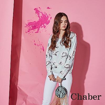 Chaber巧帛 氣質印花粉嫩顯白針織造型上衣-藍