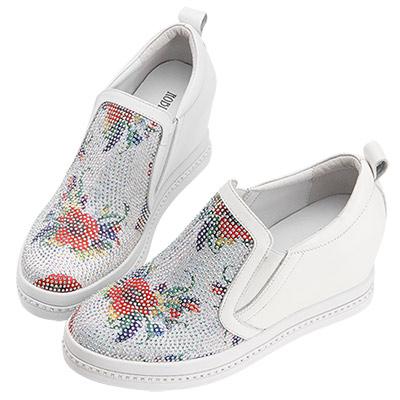 Robinlo & Co.古典美花卉鑲鑽真皮內增高休閒鞋 白色 @ Y!購物