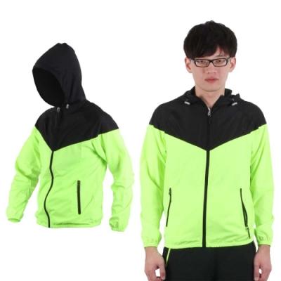SOFO 男連帽風衣外套-防風外套 螢光綠黑