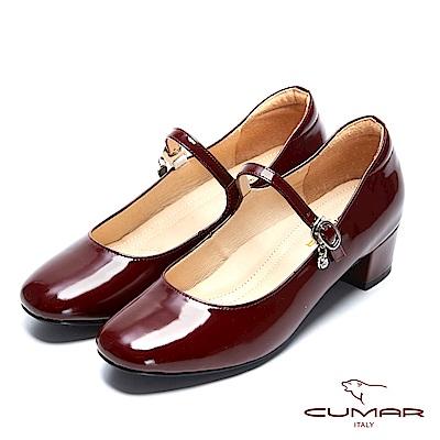 【CUMAR】復古典雅- 小方頭垂墜鑽飾粗跟瑪莉珍鞋