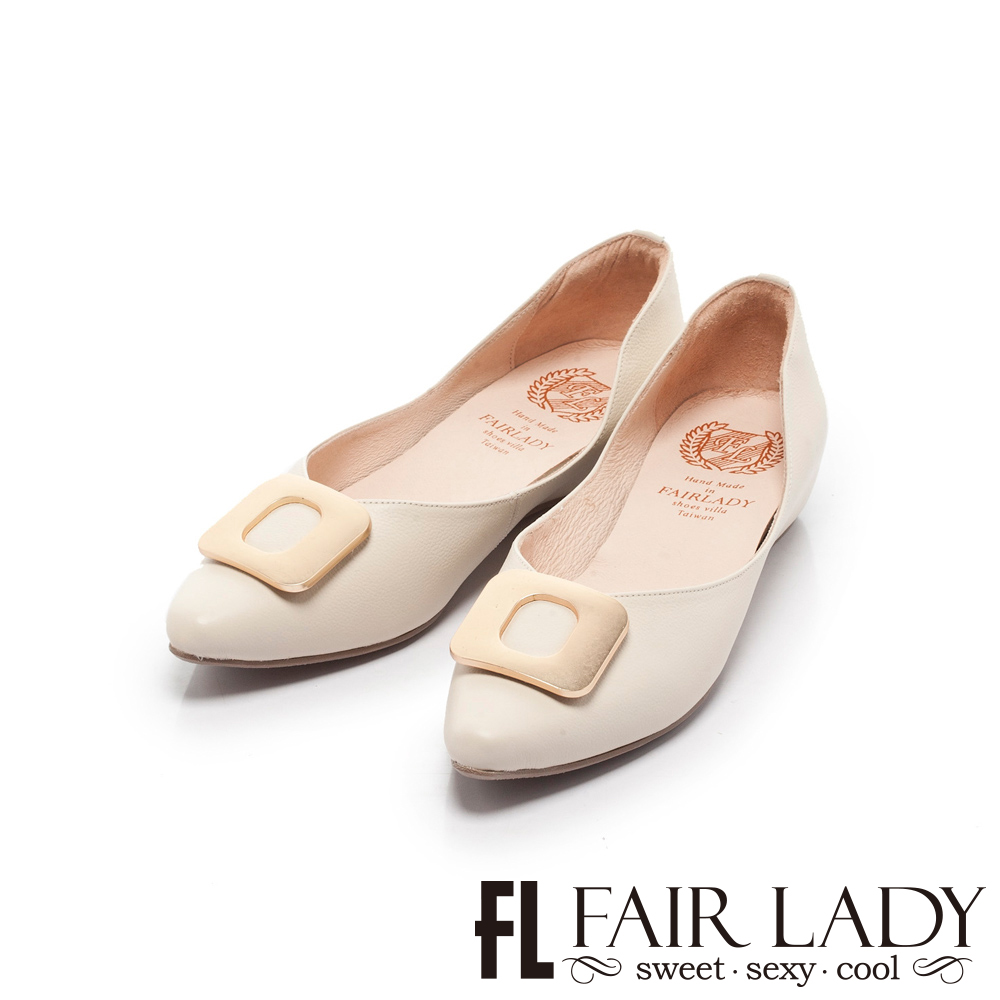 Fair Lady懶骨頭 法式金屬方釦尖頭平底鞋 香草
