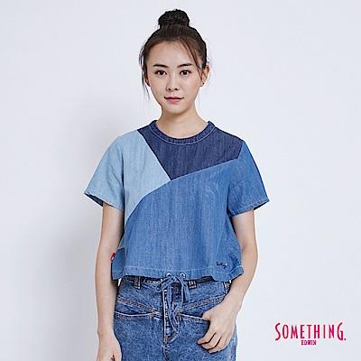 SOMETHING 天絲棉撞色拼接短版T恤-女-漂淺藍
