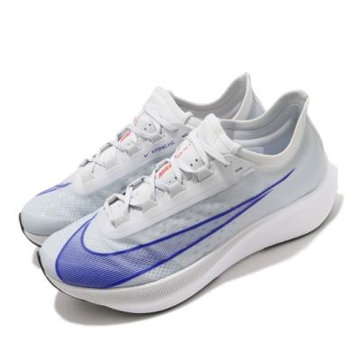 Nike 慢跑鞋 Zoom Fly 3 運動 男鞋 氣墊 舒適 避震 路跑 健身 球鞋 灰 藍 AT8240005