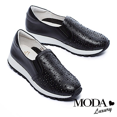休閒鞋 MODA Luxury 雕花水鑽全真皮厚底休閒鞋-黑