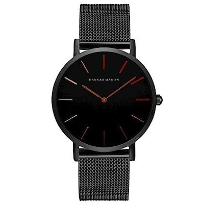 HANNAH MARTIN 極簡黑無秒針設計腕錶-黑錶盤x玫瑰金刻度/36mm