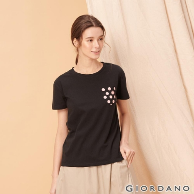 GIORDANO 女裝夢幻獨角獸系列純棉寬版口袋T恤-11 標誌黑