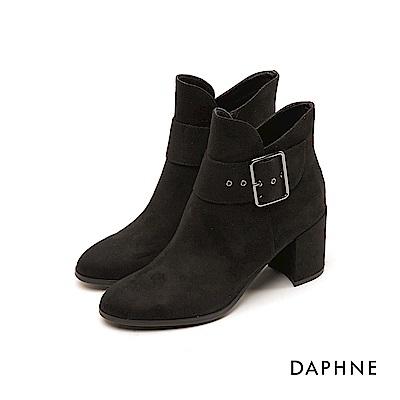達芙妮DAPHNE 短靴-原色V字靴筒金屬扣帶粗跟短靴-黑