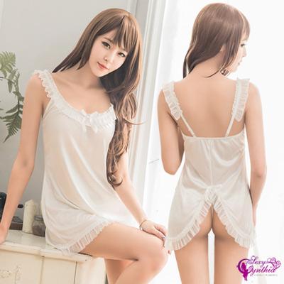 Sexy Cynthia情趣睡衣純白柔緞後開襟二件式睡衣-白F