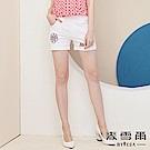 【麥雪爾】純棉玫瑰刺繡反褶短褲