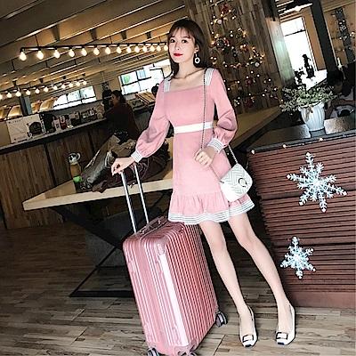 DABI 韓系小方領收腰A字純色長袖洋裝