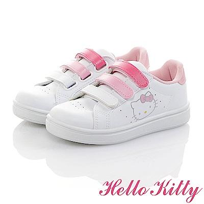 HelloKitty 親子小白鞋 -輕量抗菌防臭減壓休閒童鞋-白粉