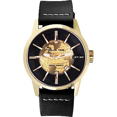 RELAX TIME RT62S 系列 人動電能地球手錶-金框x黑色帶/45mm
