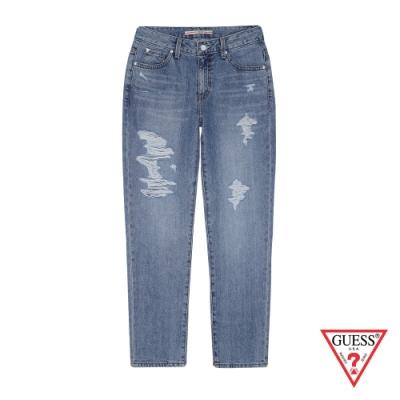 GUESS-女裝-率性刷破牛仔褲-藍