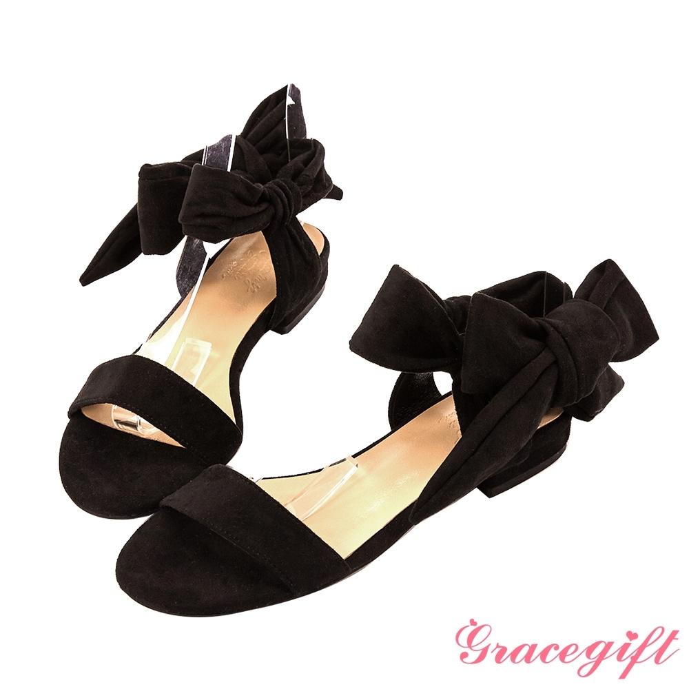 Grace gift X Tammy-聯名一字浪漫綁帶平底涼鞋 黑