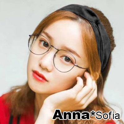 AnnaSofia 光感厚雪紡交叉結 彈性寬髮帶(酷黑系)