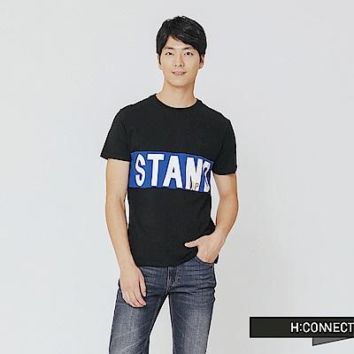 H:CONNECT 韓國品牌 男裝-跳色文字T-shirt-黑