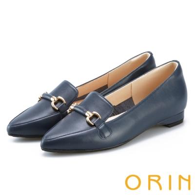 ORIN 質感牛皮馬銜釦樂福鞋 藍色