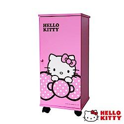 Hello Kitty 凱蒂貓 大蝴蝶結DIY活動三層滾輪櫃 活動櫃 置物櫃 收藏櫃-粉紅
