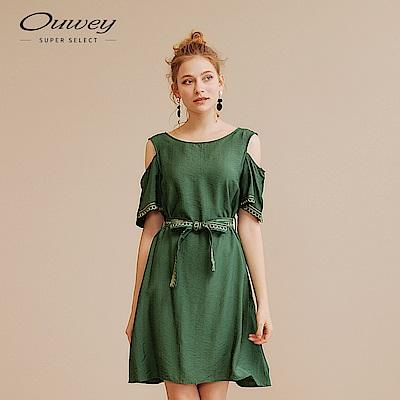 OUWEY歐薇 圖騰刺繡縷空露肩洋裝(粉/綠)