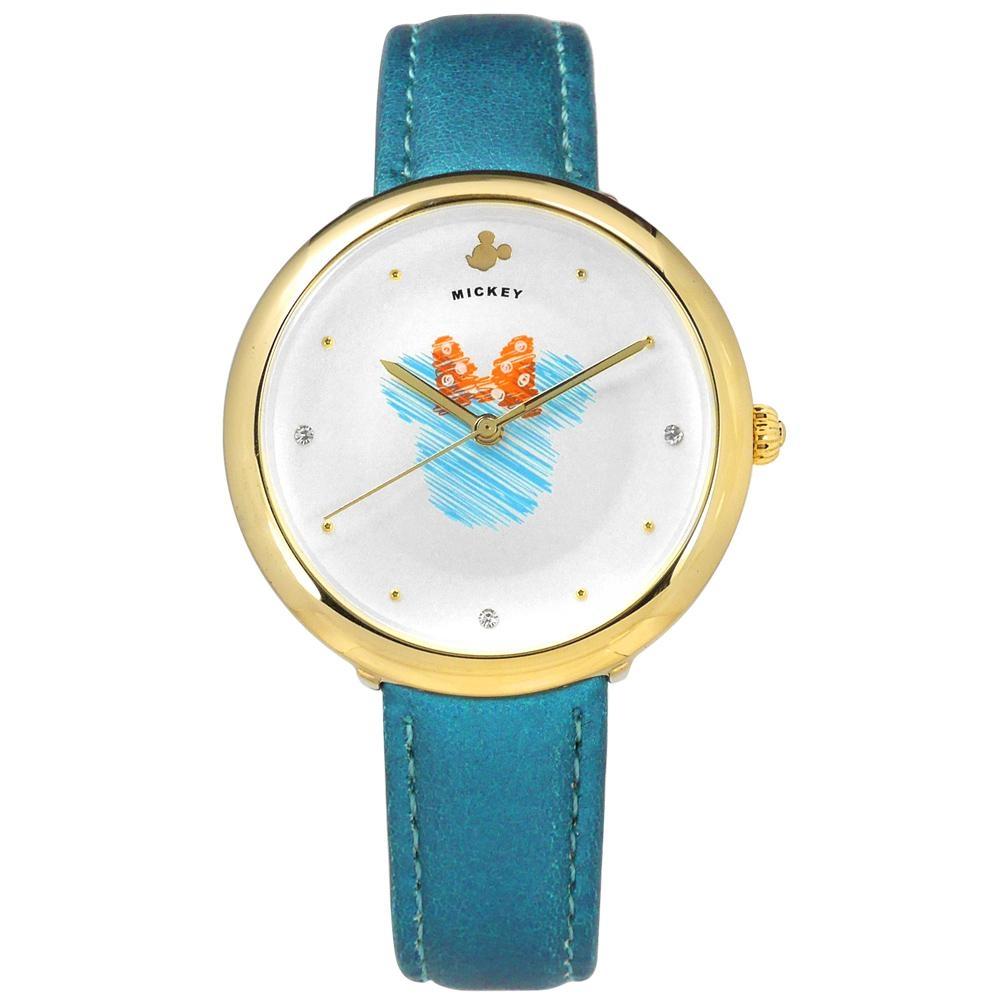 Disney 迪士尼 米奇系列 手繪塗鴉 兒童 卡通 皮革手錶-銀白x金框x藍/38mm