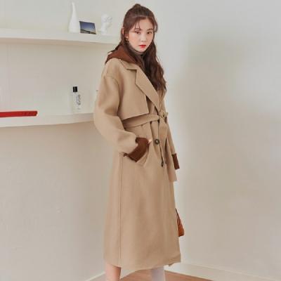 羊毛外套 拼接腰帶雙面羊毛長大衣OR8352-創翊韓都