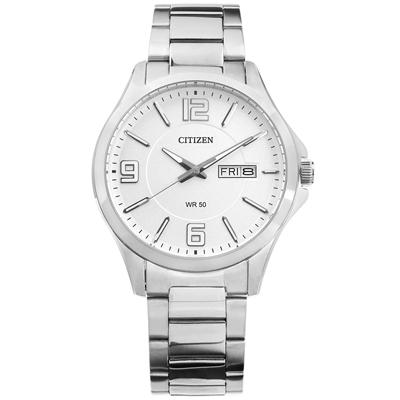 CITIZEN 大刻度星期日期礦石強化玻璃日本機芯不鏽鋼手錶-銀白色/41mm