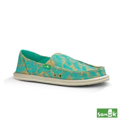SANUK 女款 US6 樹葉印花懶人鞋(綠色)