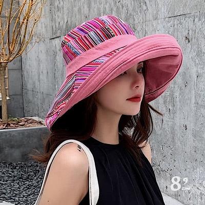 【89 zone】韓版民族風雙面文藝防曬/遮陽帽(粉紫)