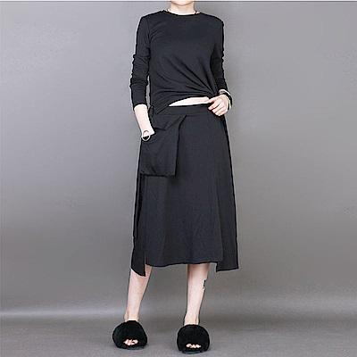 港風大口袋寬鬆不規則中長版傘裙-設計所在 MP1788