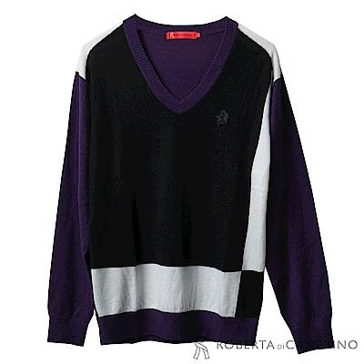 ROBERTA諾貝達 台灣製 舒適保暖 純美麗諾羊毛衣 紫黑