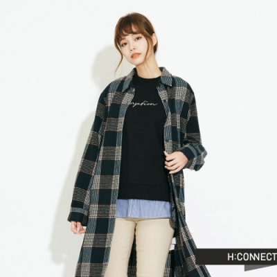 H:CONNECT 韓國品牌 女裝-毛呢格紋襯衫洋裝-綠