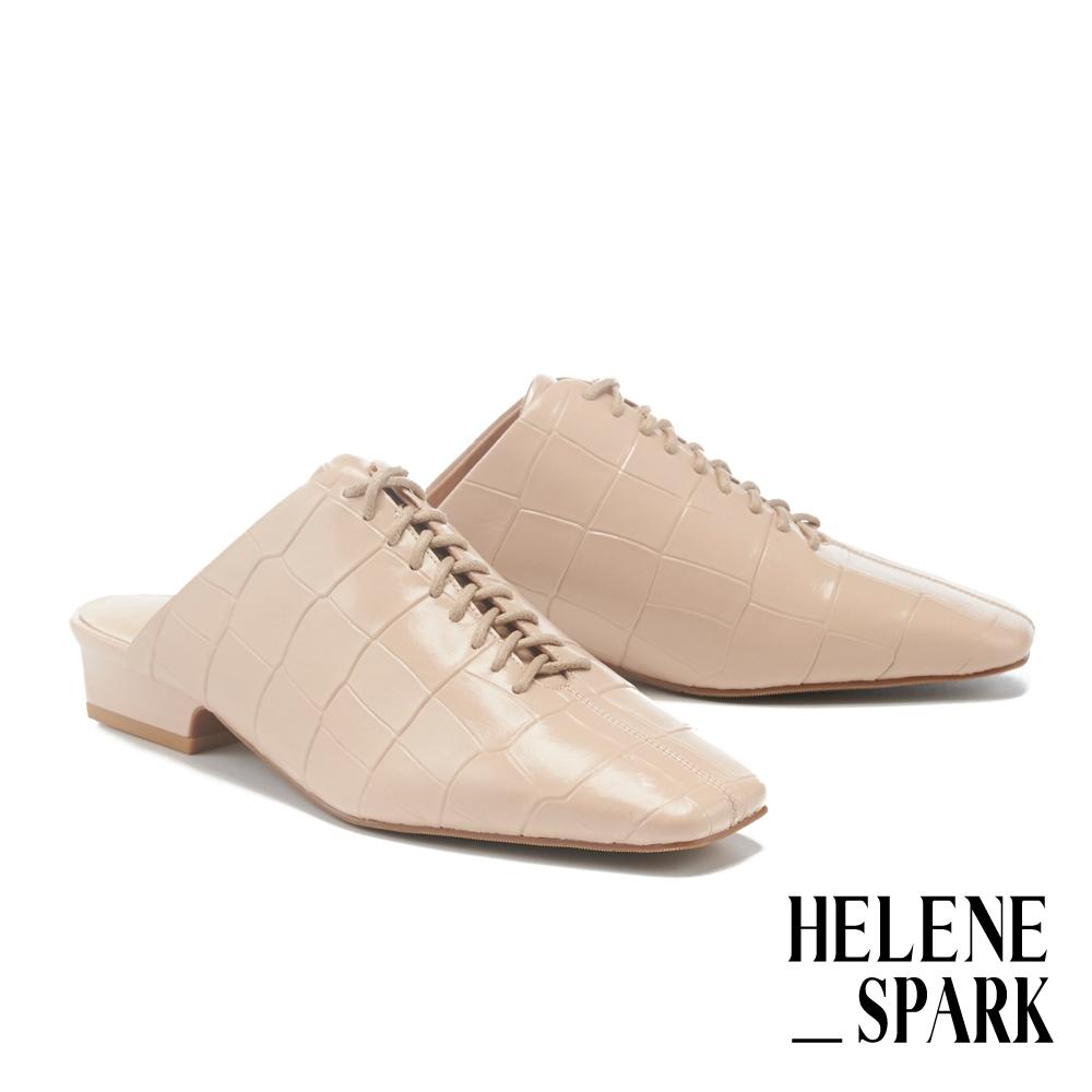 穆勒鞋 HELENE SPARK 時髦綁帶鱷魚紋牛皮方頭低跟穆勒拖鞋-粉