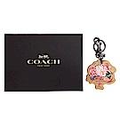 COACH 專櫃款插畫風格花束造型鑰匙圈(附禮盒/駝)