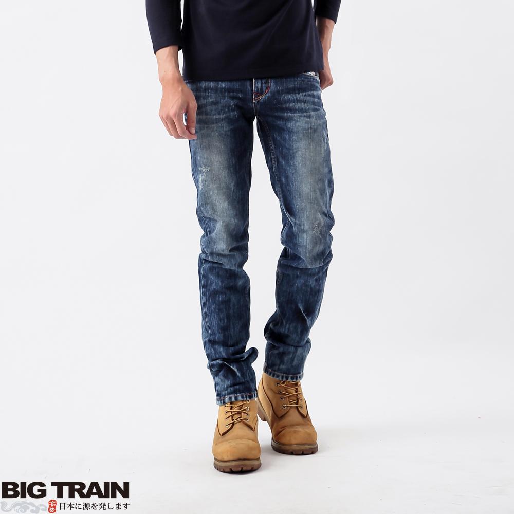 BigTrain 重水洗小直筒-男-中深藍