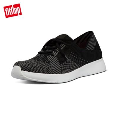 FitFlop MARBLEKNIT 運動風繫帶休閒鞋-女(黑色/炭灰色)